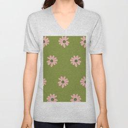 Colorful retro home decor and textile design flower pattern on olive Unisex V-Neck