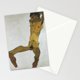 Seated Male Nude by Egon Schiele Stationery Cards