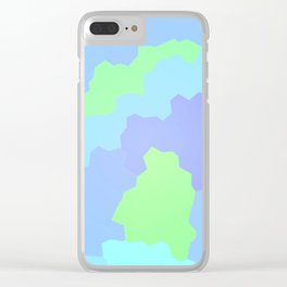 Abstract Geometric Design (Pastel Blues And Greens) Clear iPhone Case
