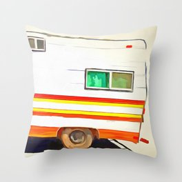 Vintage Camping Trailer Pop Throw Pillow
