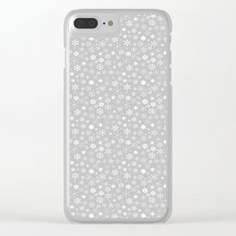Silver & White Christmas Snowflakes Clear iPhone Case