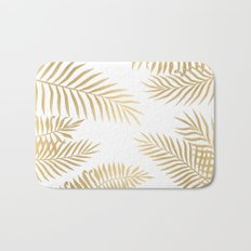Gold palm leaves Bath Mat
