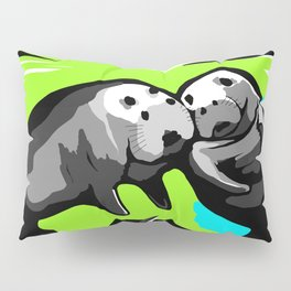 MANATEE LOVE in Blue Green Underwater Pillow Sham