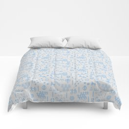Peoples Story - Blue on Grey Comforters