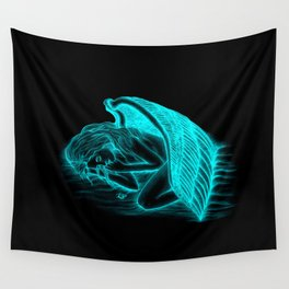 A sleeping Angel in black and green design Wall Tapestry