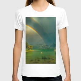 Rainbow at Tedesco Lake, Forgensee Bavaria, Germany color photograph / photography / photographs T-shirt