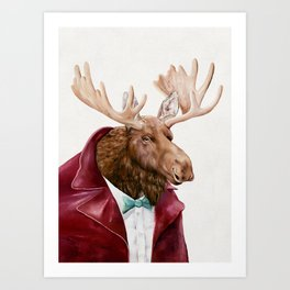 Moose in Maroon Art Print