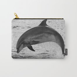 Jumping wild bottlenose dolphin black and white Carry-All Pouch