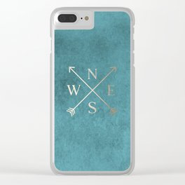 Gold on Turquoise Distressed Compass Adventure Design Clear iPhone Case