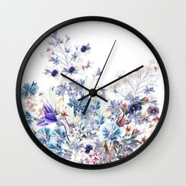 Light floral vector illustration with spring and summer field flowers  Wall Clock