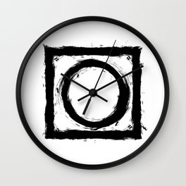 Black and white shapes splatter Wall Clock