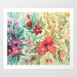 The Rainbow Floral Garden Art Print