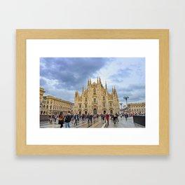 Busy Piazza Duomo Framed Art Print