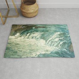 Hiroshi Yoshida - Rapids  - Japanese Vintage Ukiyo-e Woodblock Painting Rug