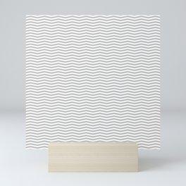 Silver and White Christmas Wavy Chevron Stripes Mini Art Print