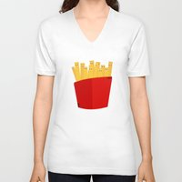 french fries V-neck T-shirts featuring FRENCH FRIES by cfortyone