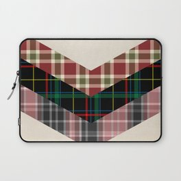Ivory black pink marsala red geometrical chevron plaid pattern Laptop Sleeve