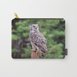 Great Horned Owl on a Post Carry-All Pouch
