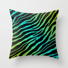 Ripped SpaceTime Stripes - Lime/Cyan Throw Pillow