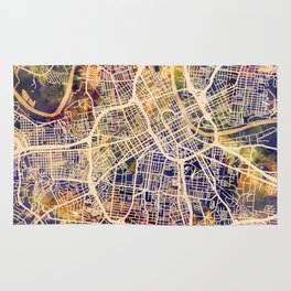 Nashville Tennessee City Map Rug