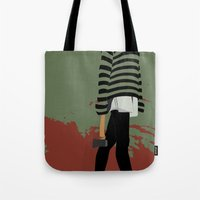 blood Tote Bags featuring blood by Eda ERKOVAN