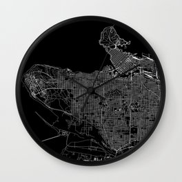 Vancouver Black Map Wall Clock