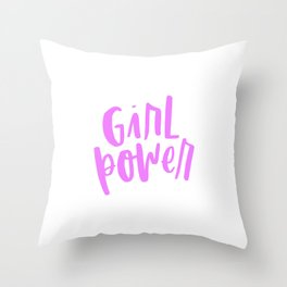 Girl Power 2 Pink and White Throw Pillow
