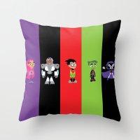 teen titans Throw Pillows featuring Teen Titans Go by Adrian Mentus