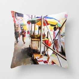 Street Vendors 2 Throw Pillow