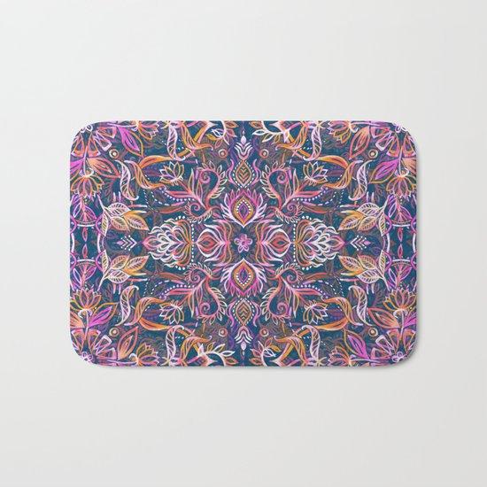 Vivid Celebration - a pattern in magenta, purple and orange Bath Mat