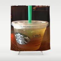 starbucks Shower Curtains featuring Starbucks Emma by Amanda Byrnes