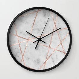 White Marble Rose Gold Geo Glam #2 #geo #decor #art #society6 Wall Clock