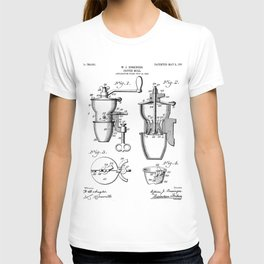 Coffee Mill Patent - Coffee Shop Art - Black And White T-shirt