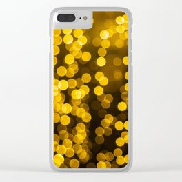 Golden Xmas Lights Clear iPhone Case
