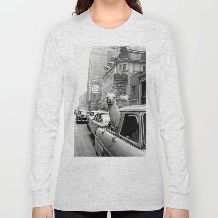Llama Riding in Taxi, Black and White Vintage Print Long Sleeve T-shirt