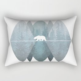 Misty Forest Mountain Bear Rectangular Pillow