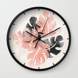 Monstera shadow Wall Clock