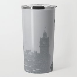 Blizzard over Edinburgh city Travel Mug