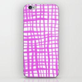 Watercolor doodle gingham - pink iPhone Skin