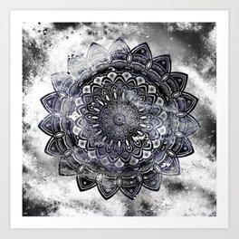 Galaxy Space Mandala (Black and White & Gray Scale) Mystical Adventurous Art Print