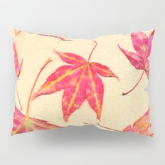 Japanese maple leaves - coral red on pale yellow Pillow Sham