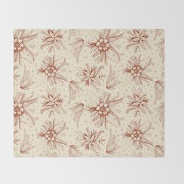 red sketchy floral pattern Throw Blanket