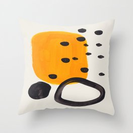 Unique Abstract Unique Mid century Modern Yellow Mustard Black Ring Dots Throw Pillow