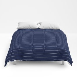 Navy Blue Pinstripe Line Stripe Minimal Stripes Lines Comforters