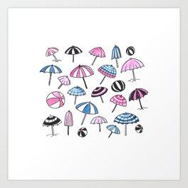 Watercolor Umbrellas  Art Print