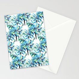 Watercolor Himalayan Blue Poppy in Aqua Pattern Stationery Cards