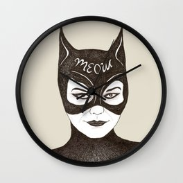 Cat Woman Sketch Meow Wall Clock