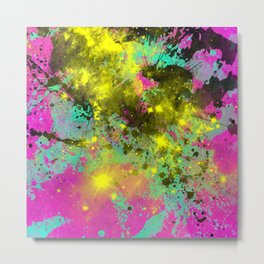 Stargazer - Abstract cyan, black, purple and yellow oil painting Metal Print