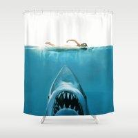 shark Shower Curtains featuring Shark by Maioriz Home