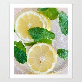 Lemon Mint Cooler Art Print